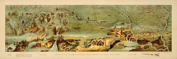 Utah, 1846-1847, Route of the Mormon Pioneers, Panoramic Pictorial Map (I)