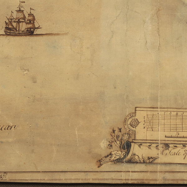 Savannah, 1751, Savannah River, Tybee Island, Georgia, Old Manuscript Map