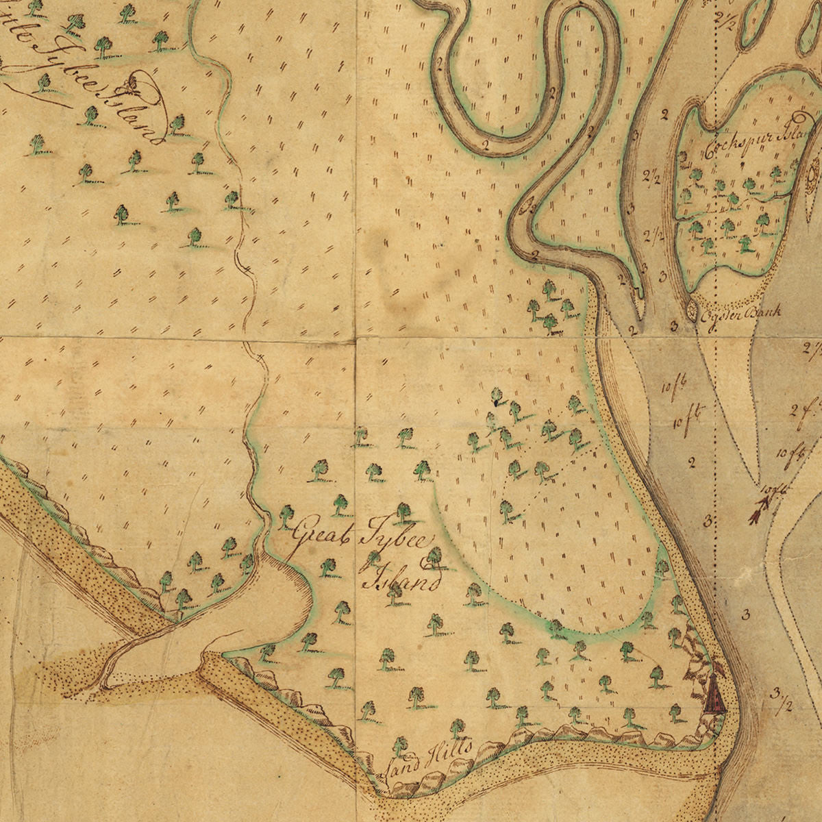 Savannah 1751 Savannah River Tybee Island Georgia Old Map