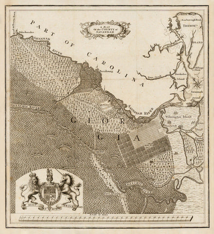Savannah, 1740, Savannah County, Georgia, Oglethorpe, Old Map
