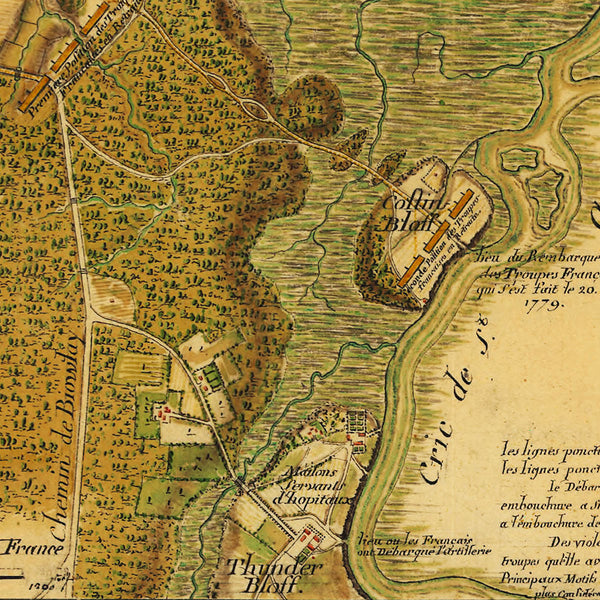 Savannah, 1779, Siege of Savannah, Georgia, Revolutionary War Map