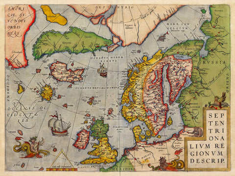 North Atlantic, 1570, Europe, Septentrionalivm Regionvm Descrip, Ortelius Map