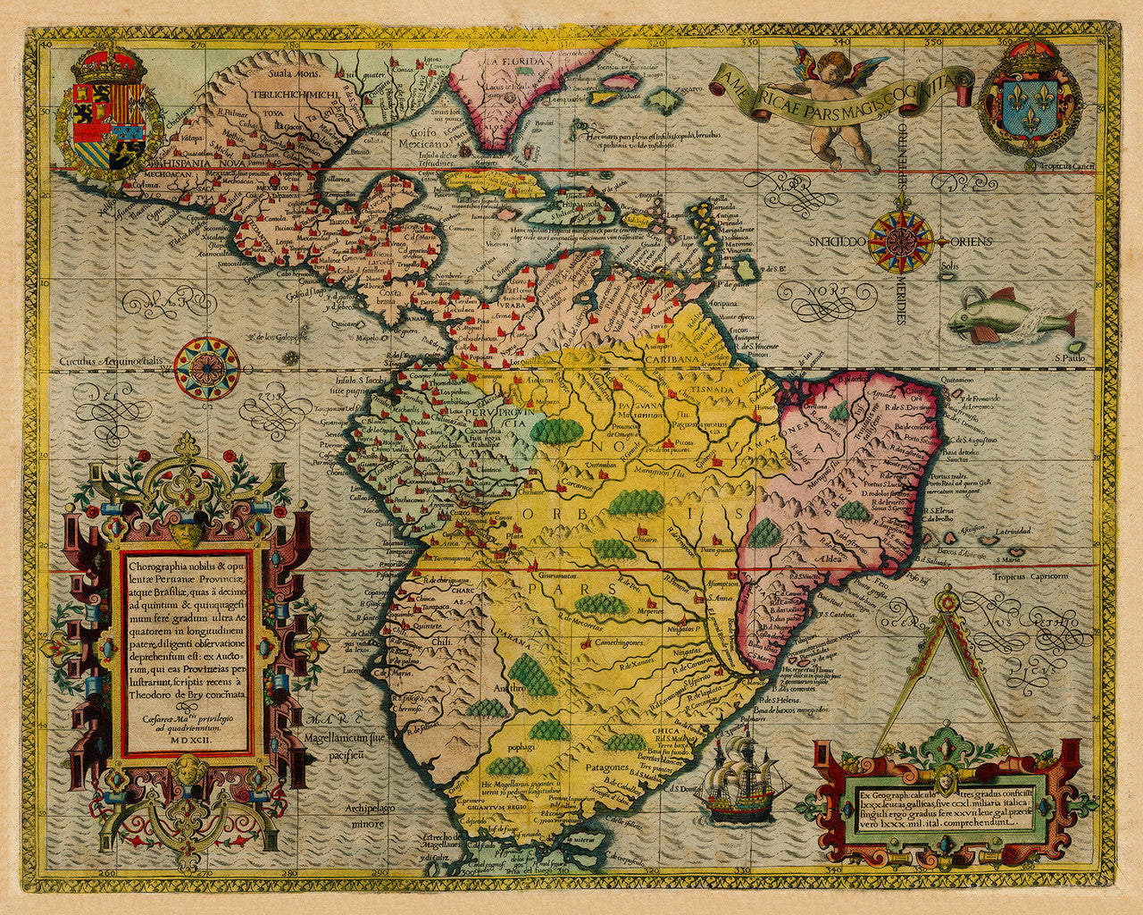 South America, 1592, Caribbean, De Bry, Antique Map
