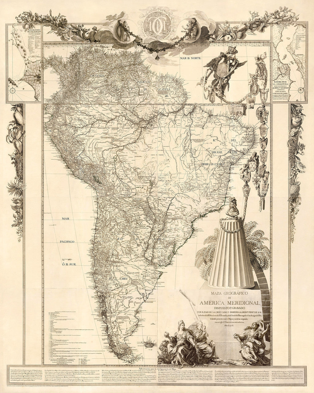 South America, 1775, Mapa de América Meridional, Old Map