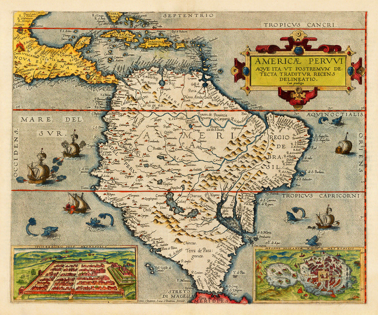 South America, 1578, Americae Pervvi, Gerard de Jode, Old Map