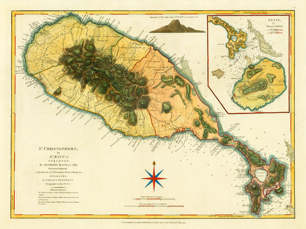 Caribbean, 1794, St. Kitts, St. Christopher, Nevis, Old Map