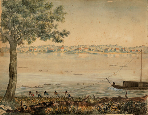 Missouri, 1824, St. Charles, Mo., Missouri River, Watercolor View
