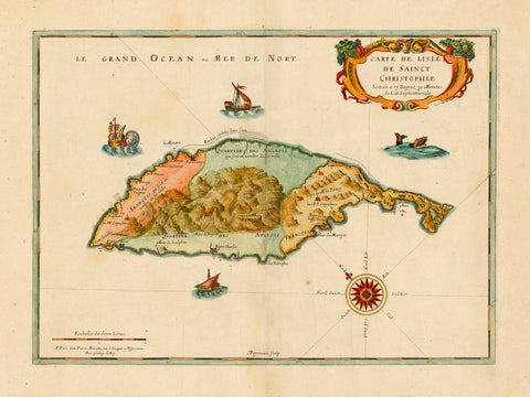 Caribbean, 1650, St. Kitts, Sainct Christophle, Old Map