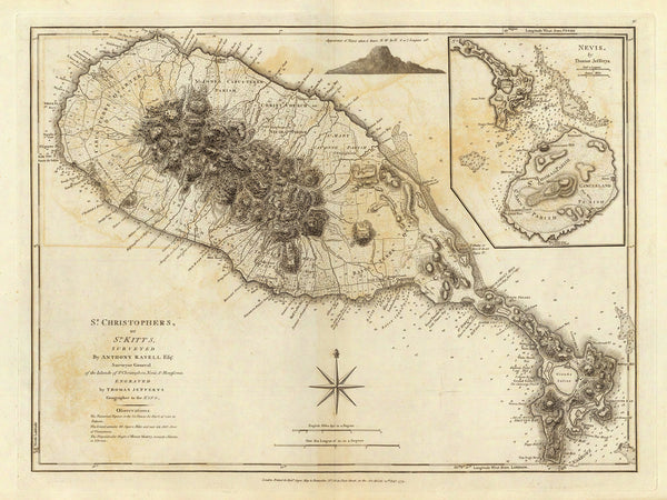 Caribbean, 1775, St. Kitts, St. Christopher, Nevis, Old Map