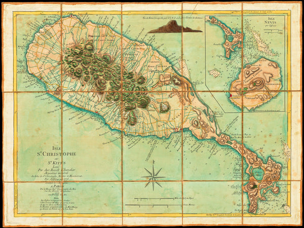 Caribbean, 1779, St. Kitts, St. Christopher, Nevis, Old Map
