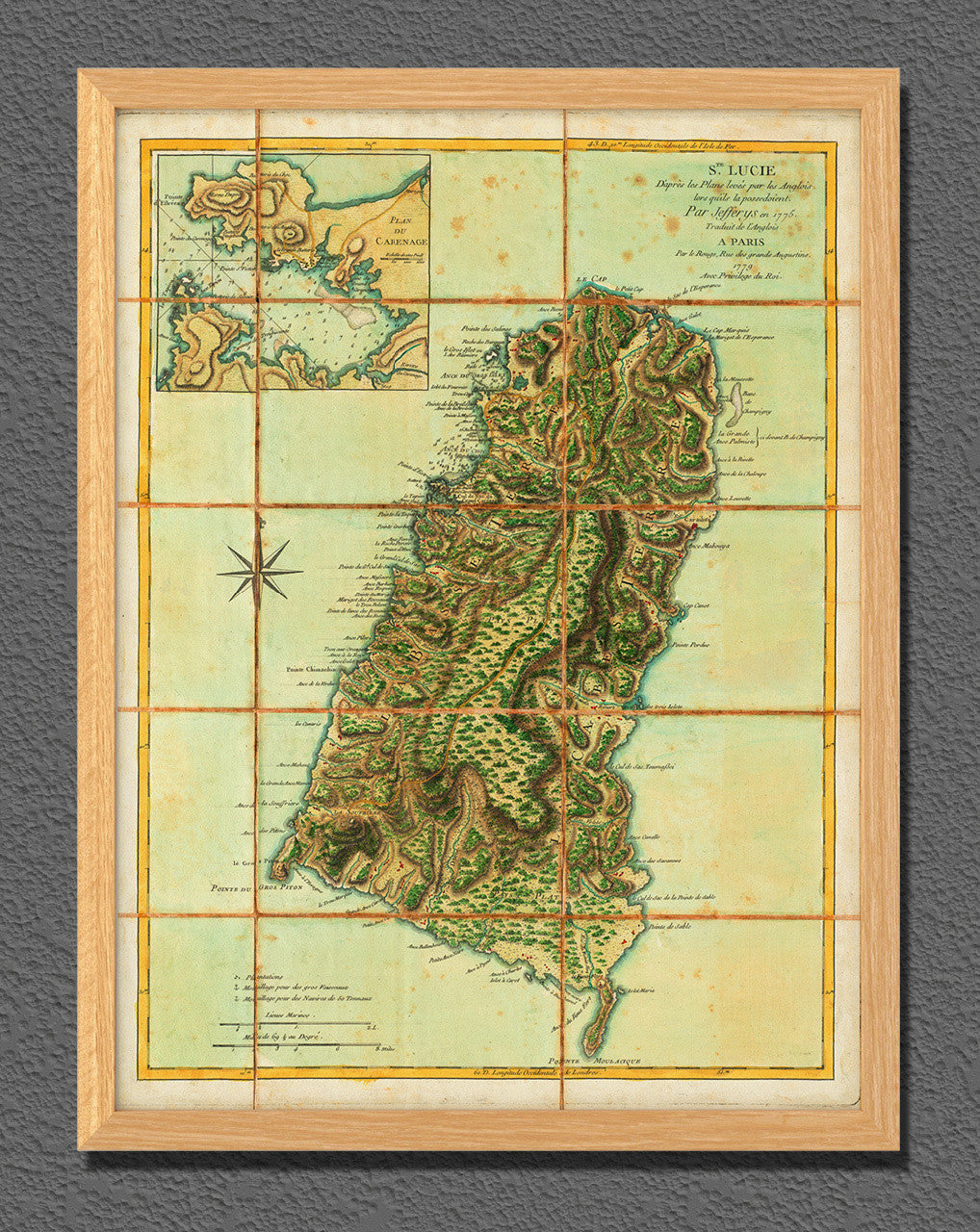 Map of st lucia 1779 sainte lucie le rouge battlemaps caribbean 1779 st lucia ste lucie old map sciox Image collections