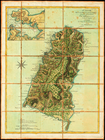 Caribbean, 1779, St. Lucia, Ste. Lucie, Old Map