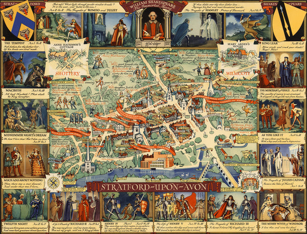 England, Stratford-upon-Avon, Shakespeare, Vintage Pictorial Map