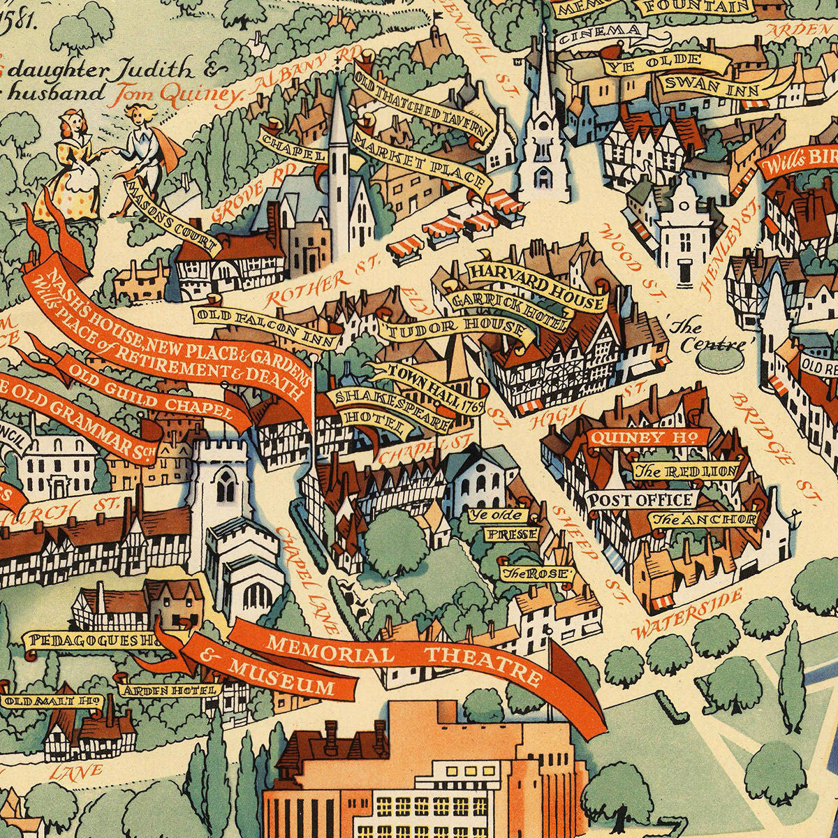 Map Of Stratford Upon Avon Stratford upon Avon, Shakespeare, Vintage Pictorial Map