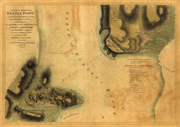 New York, 1779, Battle of Stony Point, Revolutionary War Map