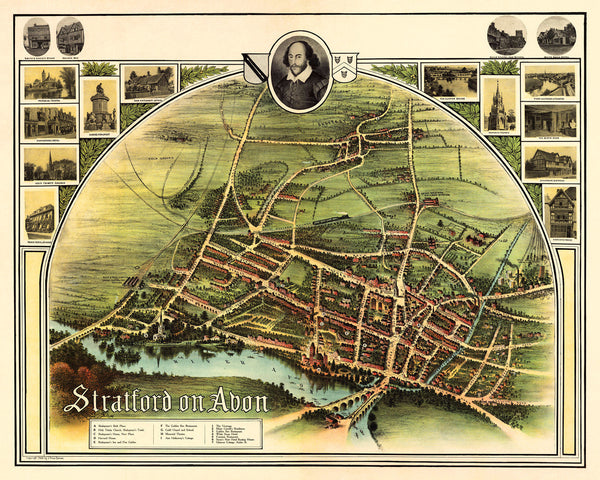 England, 1908, Stratford-upon-Avon, Shakespeare, Vintage Map