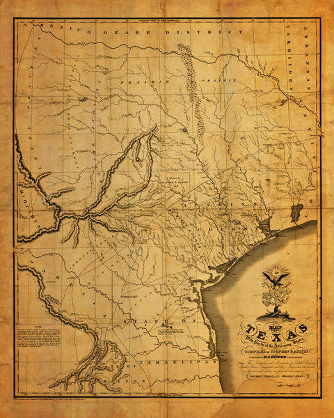 Texas, 1830, Stephen F. Austin Map