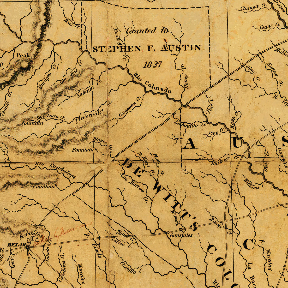 Detail Map Of Texas.Texas 1830 Stephen F Austin S First Printed Map Battlemaps Us
