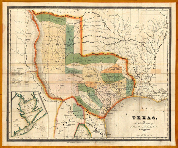 Texas, 1835, Burr & Colton Map