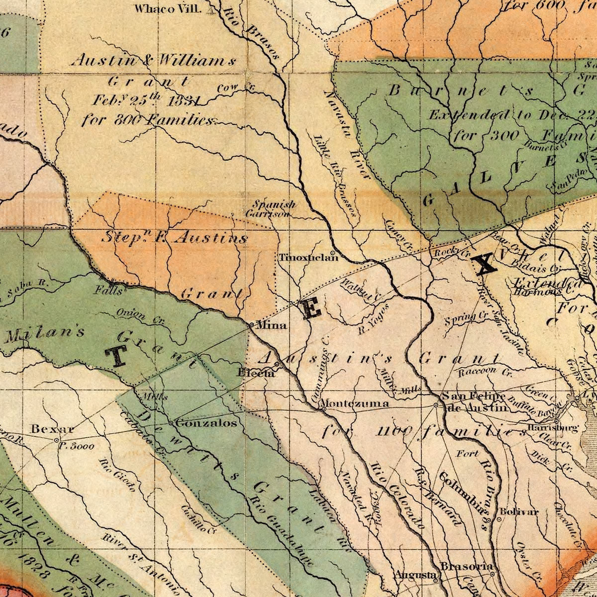 Detail Map Of Texas.Texas 1835 Burr Colton Map