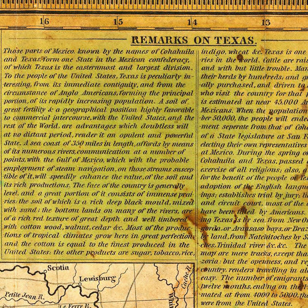 Texas, 1836, Young & Mitchell Map