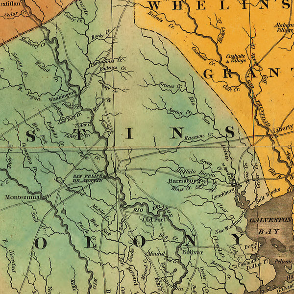 Texas, 1837, Stephen F. Austin Map