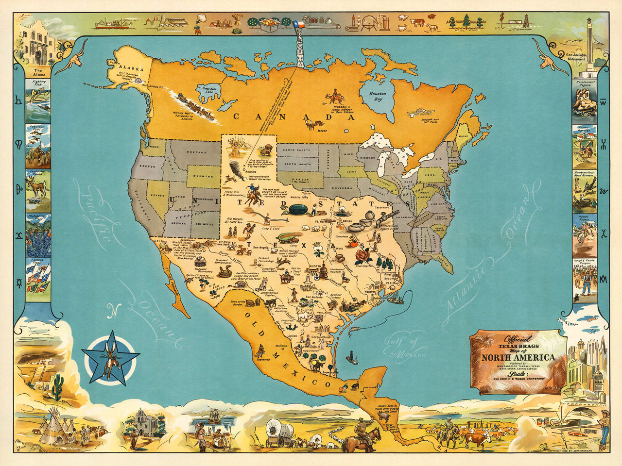 Map Of America Texas.Texas Brags Vintage Pictorial Map Battlemaps Us