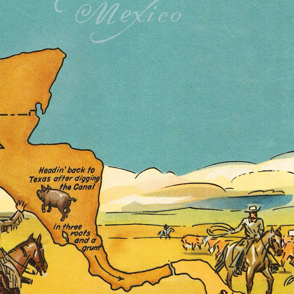 North America, Texas Brags, Humorous Vintage Pictorial Map