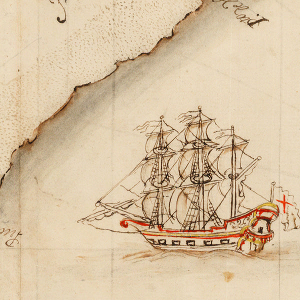 South America, 1700, Andes Routes, Spanish Treasure Fleet, Manuscript Map