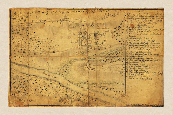New Jersey, 1776, Battle of Trenton, Hessian Sketch, Revolutionary War Map