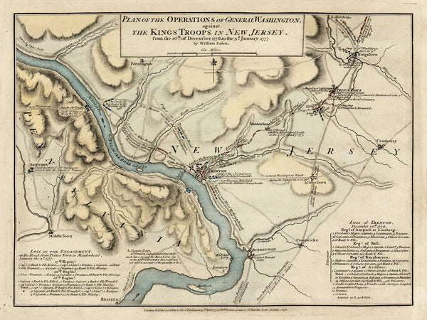 New Jersey, 1777, Battles of Trenton, Princeton, 1776-77, Revolutionary War Map (II)
