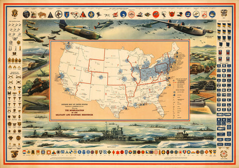USA, 1942, WWII Defense Map