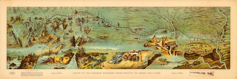 Utah, 1846-1847, Route of the Mormon Pioneers, Panoramic Pictorial Map (II)