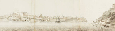 Malta, 1664, Valletta Harbour, View from Senglea, Schellinks, Watercolor, Fine Art Print