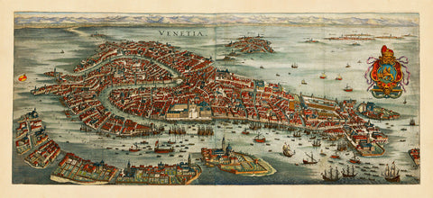 Venice, 1635, Venetia, Merian, Bird's Eye View Map