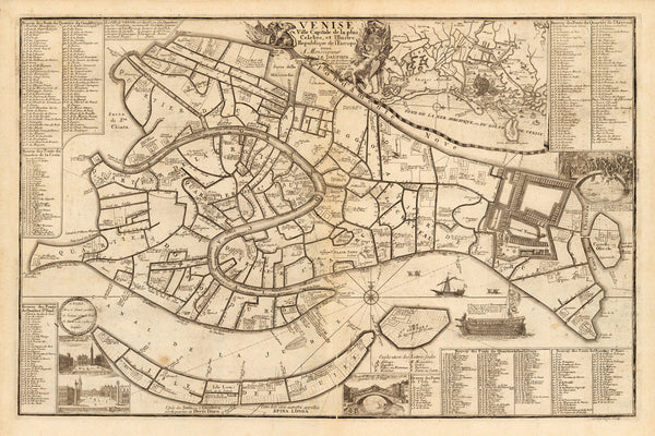 Venice, 1695, Venise Ville Capitale, City Plan, De Fer Map