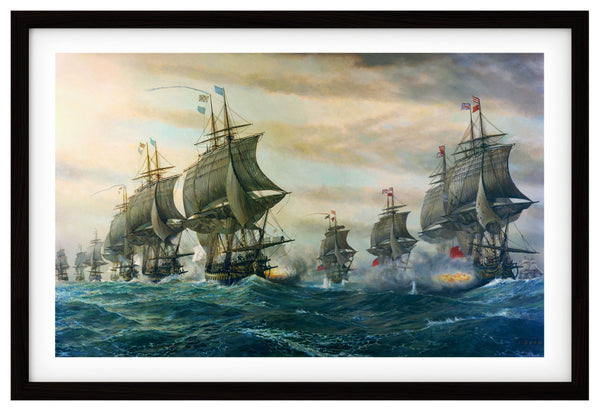 Chesapeake Bay, 1781, Battle of Virginia Capes, Revolutionary War, Fine Art Print, Framed