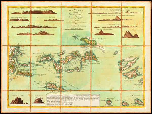 Caribbean, 1779, Virgin Islands, Les Vierges, BVI, USVI, Old Map