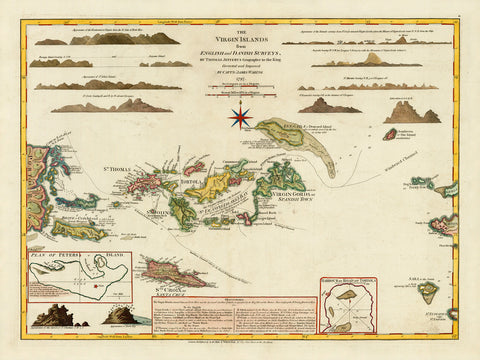 Caribbean, 1797, Virgin Islands, BVI, USVI, Old Map