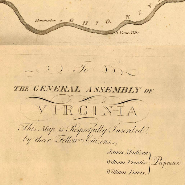 Virginia, 1807, James Madison, Richmond, Antique Map