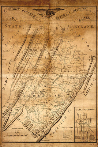 Virginia, 1809, Berkeley, Frederick, Jefferson Cos., Antique Map