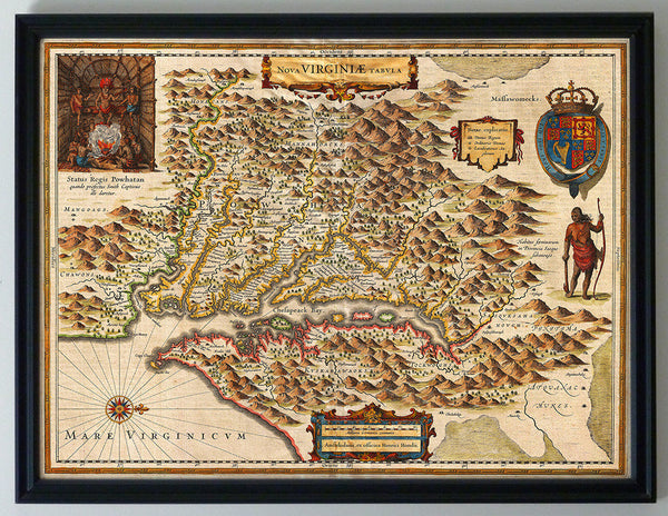 Virginia, 1630, Nova Virginiæ Tabula, John Smith Map, Framed