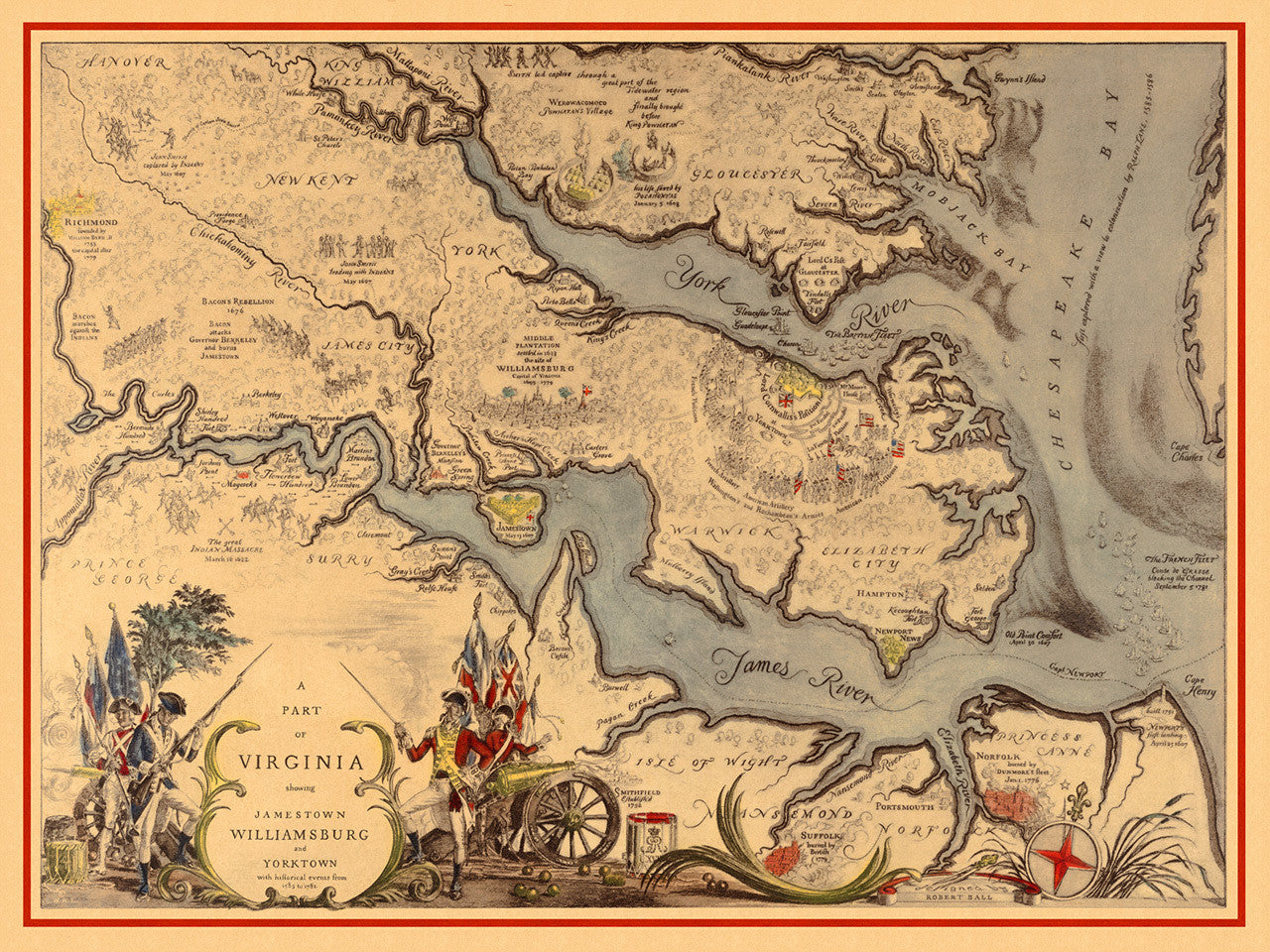 Map of Virginia 1585–1781 with Williamsburg, Jamestown, Yorktown