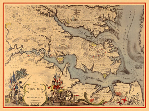 Virginia, 1585–1781, Williamsburg, Jamestown, Yorktown, Historical Map