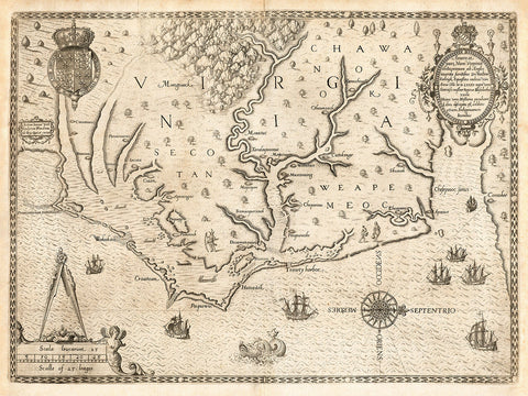 Virginia, 1590, Americæ Pars Nunc Virginia (II), White, De Bry Map