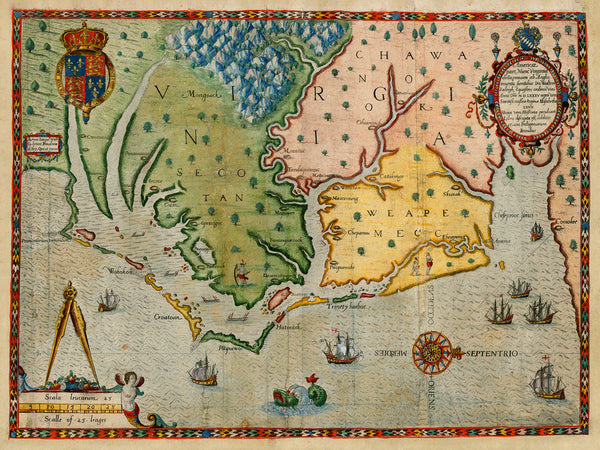 Virginia, 1590, Americæ Pars Nunc Virginia Dicta, White, De Bry Map