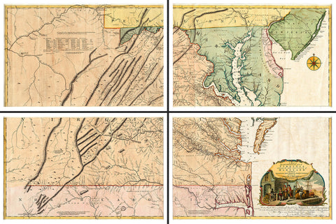 Virginia, 1755, Fry-Jefferson Map, 4-Sheet Large Wall Map