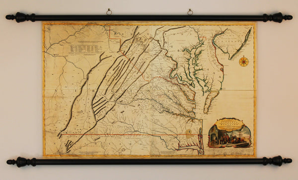 Virginia, 1755, Fry–Jefferson Map, Wall Map Mounted with Rollers