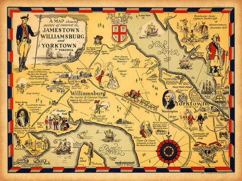 Virginia, 1607–1930, Williamsburg, Jamestown, Yorktown, Historical Map