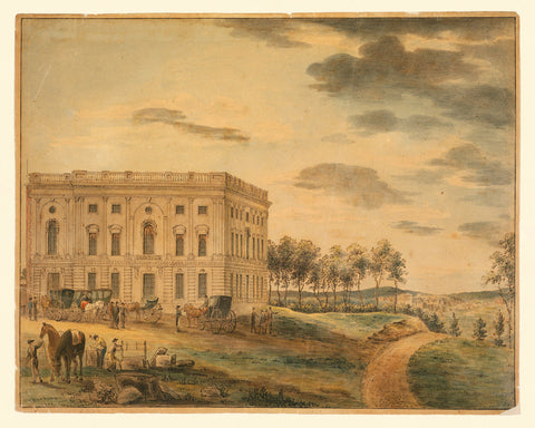 Washington, D.C., 1800s, U.S. Capitol Before the Fire, Watercolor View